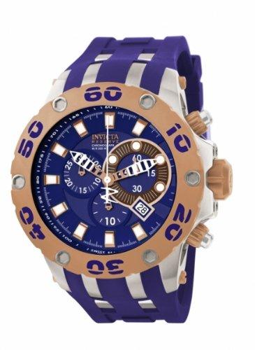 Invicta Men's 0910 Subaqua Reserve Chronograph Blue Dial Blue Polyurethane Watch, Watch Central
