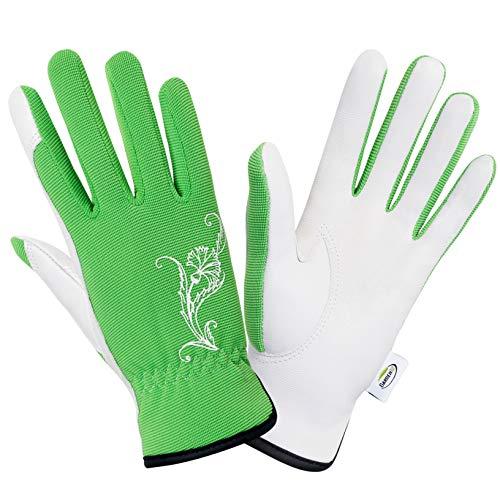 Gardening Gloves for Women. Goatskin Garden Gloves. Stretchy, breathable Working Gloves Medium Size