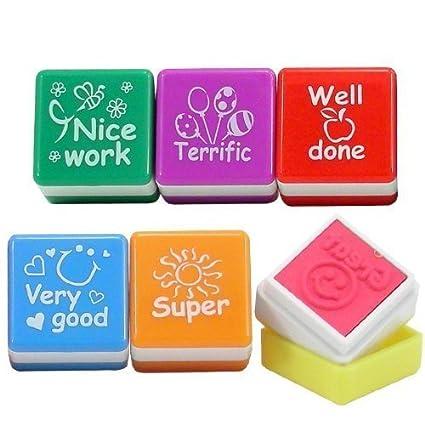 "Playwrite - Set de 6 sellos de profesor con mensajes en inglés (""Well"