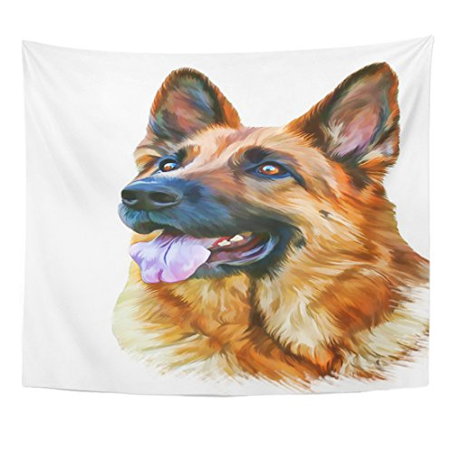 Emvency Tapestry Green Drawing of The Dog German Shepherd Water Color Home Decor Wall Hanging for Living Room Bedroom Dorm 50x60 Inches