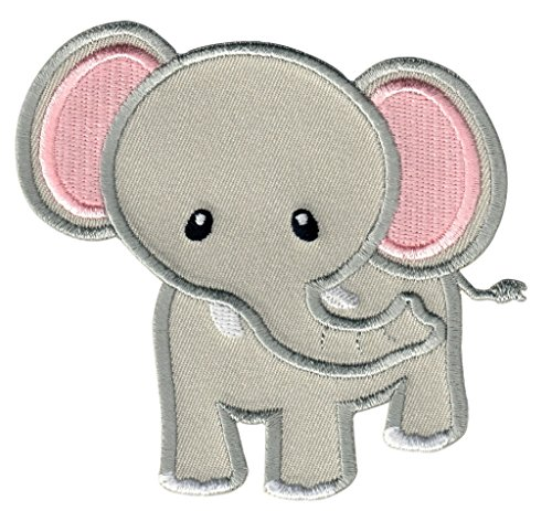 PatchMommy Iron On Patch, Grey Elephant - Appliques for Kids Children