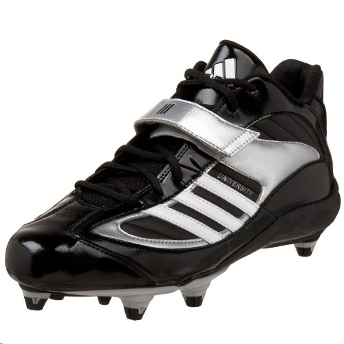 adidas Men's UnIVersity IV D Mid Football Cleat,Black/White/Silver,11.5 M