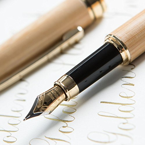 [Top Rated Bamboo Fountain Pen] Designer Luxury Fountain Pens by Golden State Ink - our'Napa Valley Collection' - Best 100% Handcrafted Pen Set with Case- Perfect for Gifts - Calligraphy Pen