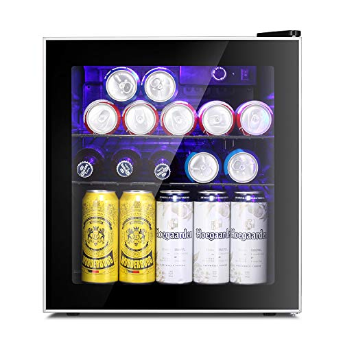 Antarctic Star Beverage Refrigerator Cooler - 60 Can Mini Fridge Glass Door for Beer Soda or Wine - Glass Door Small Drink Dispenser Machine Clear Front Removable for Home, Office or Bar, 1.6cu.ft.