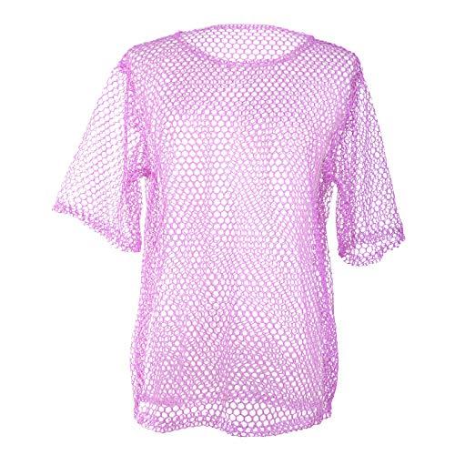 Wraith of East Unisex 80s Fishnet Shirt String Vest Pop Punk Rocker Mesh Club Top (Purple, Standard Size)