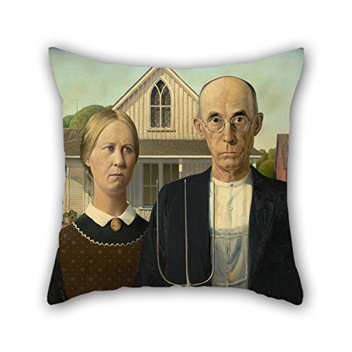 Slimmingpiggy Oil Painting Grant Wood - American Gothic Pillowcover 18 X 18 Inches / 45 By 45 Cm Gift Or Decor For Deck Chair,family,wedding,bf,kids Boys,father - Each Side - Easy Jeff The Killer Costume