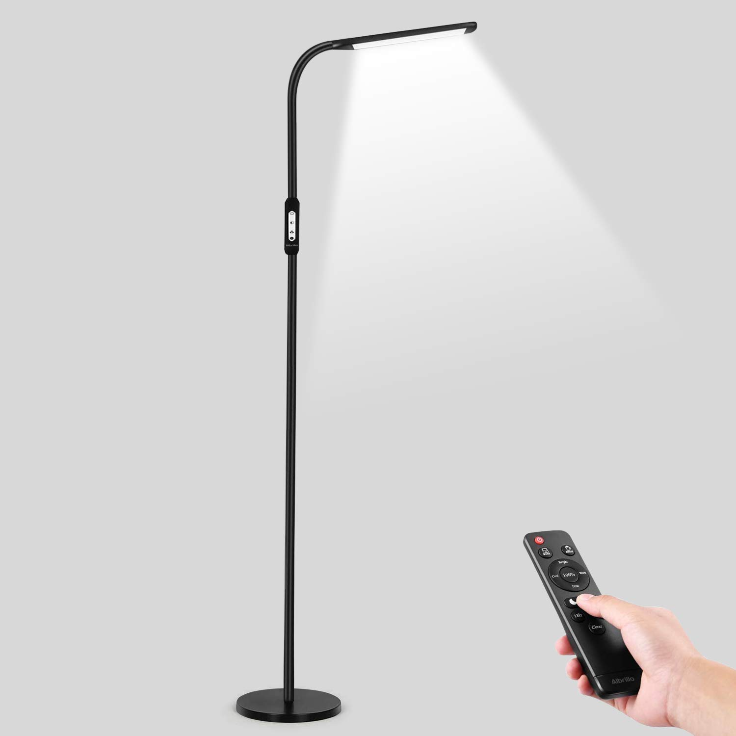 Aibrillo LED Floor Lamps for Living Room Bedroom Office - Modern Reading Standing Lamp Dimmable with Touch Control & Remote Control, Gooseneck Floor Lamp Black
