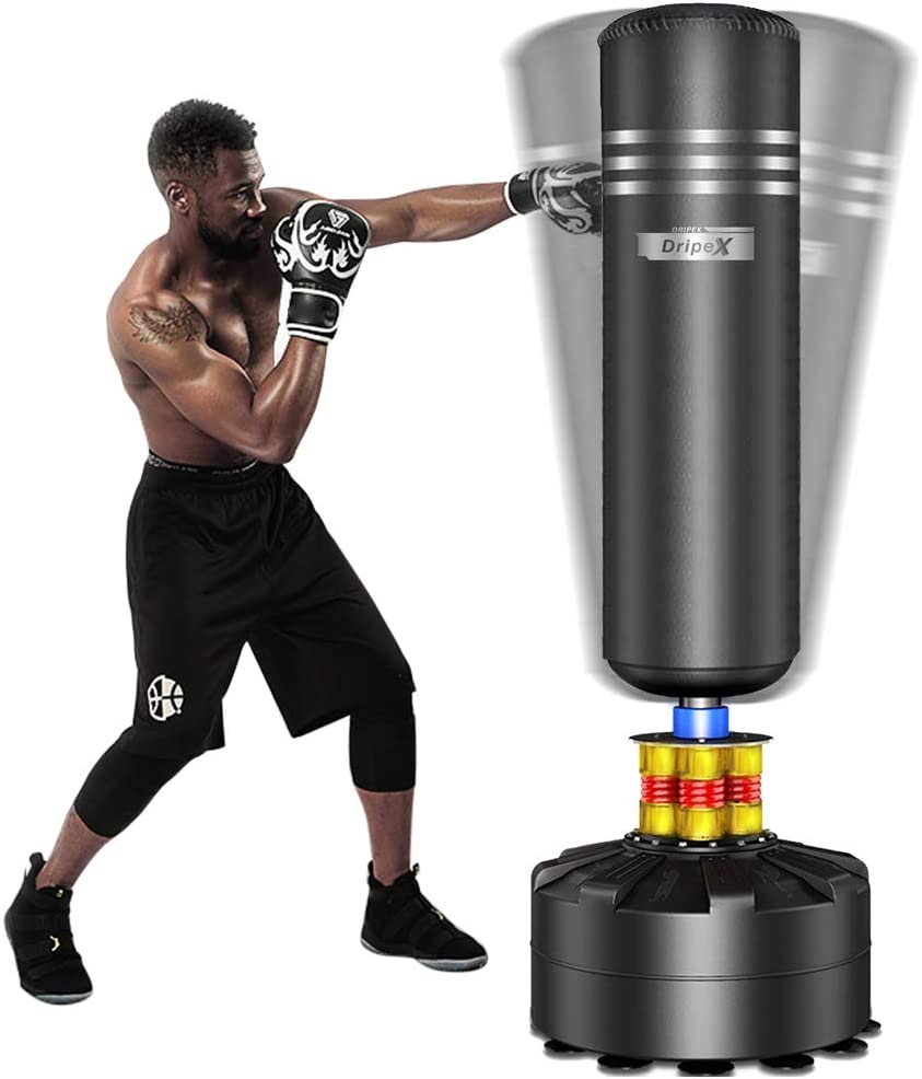 amazing selection run shoes factory outlet Dripex Freestanding Punching Bag 69''- 182lb Heavy Boxing Bag with Suction  Cup Base for Adult Youth - Men Stand Kickboxing Bags Kick Punch Bag | Black