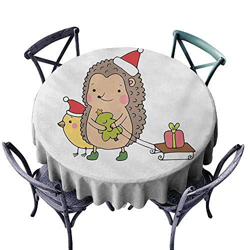 VIVIDX Round Tablecloth,Hedgehog,Cartoon Hedgehog with Bird and a Christmas Tree Pulling Sled Holiday Themed Image,Modern Minimalist,47 INCH,Multicolor