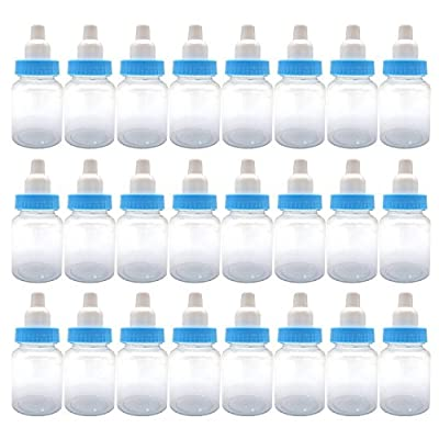 3.5-Inches Baby Bottle Shower Favor,Mini plastic candy bottle,Baby shower supplies Boy girl newborn baby baptism birthday party decor,blue(Pack of 24): Home & Kitchen