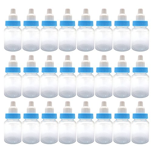 FADUOALI 3.5-Inches Baby Bottle Shower Favor,Mini Plastic Candy Bottle,Baby Shower Supplies Boy Girl Newborn Baby Baptism Birthday Party Decor,Blue(Pack of 24) ()