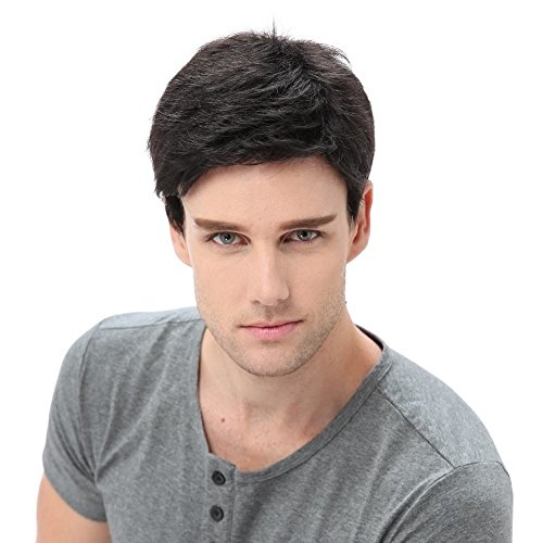 STfantasy Men Short Black Wigs Male Guy Layered Wavy Halloween Cosplay Anime Party Father's Day Gifts for Dad Hair Black