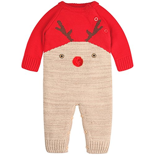 Sweater Suit Christmas (ZOEREA Baby Sweater Deer Theme Christmas Infant Romper Suit 0-22 Months Label)