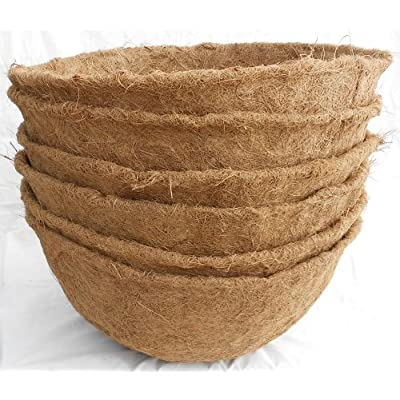 "18-inch Hand Formed Hanging Basket Coco Fiber Liner 8.5"" Deep (C420L) with Water Retainer - Pack of 5: Garden & Outdoor"