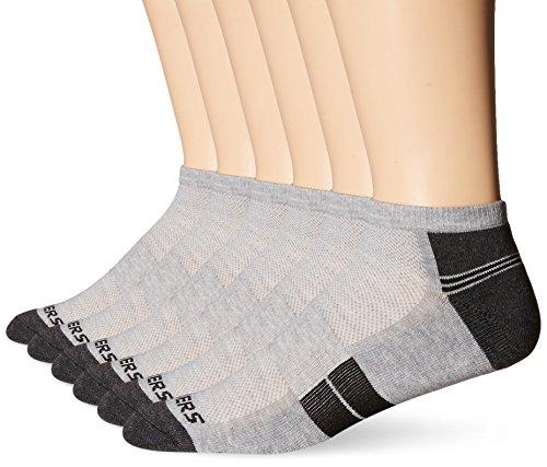Skechers Men's 6 Pack Half Cushion Socks, Grey/Grey, Sock Size: 10-13/Shoe Size:9-11