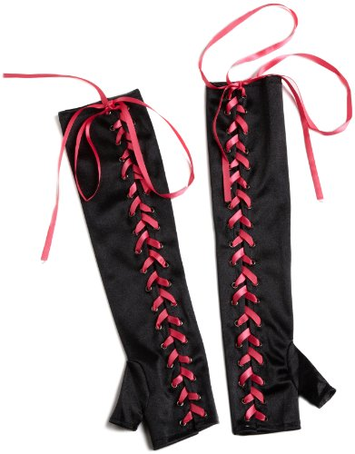 Seven Til Midnight Women's Lace-Up Gloves, Black, One Size