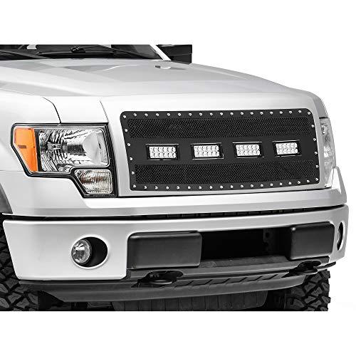 - Modern Billet Wire Mesh Upper Grille Insert with Frame, Rivets & LED Lighting - Black - for Ford F-150 (Excluding Raptor) 2009-2014