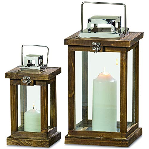 (WHW Whole House Worlds Crosby Street Top Opening Candle Lantern Hurricanes, Set of 2, Artisan Crafted, Sustainable Wood, Galvanized Metal, Silver Square Tops, 15 and 10 3/4 Inches Tall)