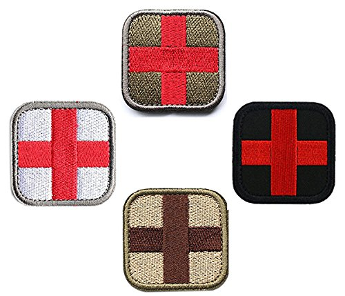 Bundle 4 Pieces Cross Tactical Medic Medical Aid Fist Aid Embroidery Patches Tactical Medical Backpack Armband Insignia Patch ()