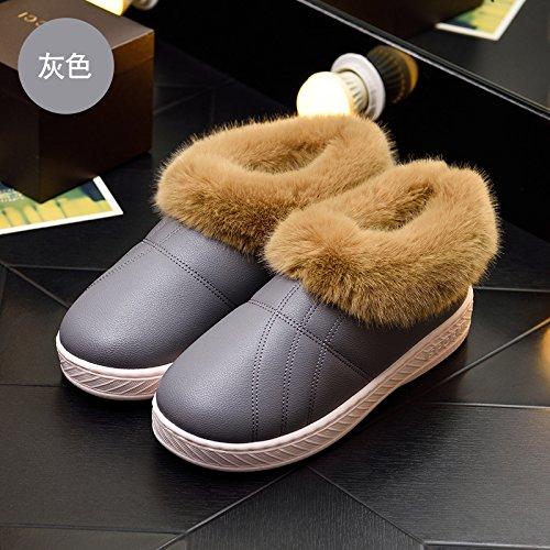 Autunno Inverno uomini e donne paio di pantofole di cotone pacchetto spessa con caldi antiscivolo di rimanere a casa per sedersi sul cotone felpato calzature adatte per 45-46,608 ,46-47 grigio