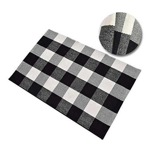 "U-LOVE Black &White Plaid Rugs Buffalo Checkered Washable Rag Handmade Cotton Throw Rugs Hand-Woven Door Mat/Carpet for Kitchen/Bathroom/ Entry Way/Laundry Room/Living Room(23.6""×51.1"")"