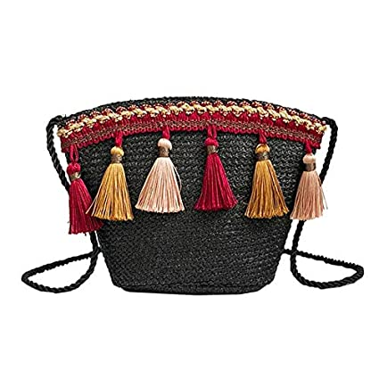Amazon.com: MU.RTY Straw Tassel Weaving Boho Small Bucket ...