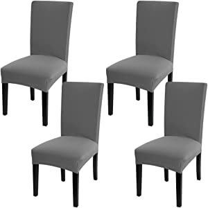 Fuloon Super Fit Stretch Jacquard Removable Washable Short Dining Chair Covers Seat Slipcover for Hotel,Dining Room,Ceremony,Banquet Wedding Party (4, Gray)