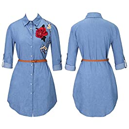 Bovake Women's Long Sleeve Denim Jeans Shirt Dress Plus Size, Ladies Casual Loose Rose Embroidered Collared Shirt Dress Party Top Shirts