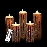 Vinkor Flameless Candles Flickering Battery Operated Candles 4'' 5'' 6'' 7'' 8'' Set of 5 Classic Real Wax Pillar With Moving LED Flame & 10-key Remote Control 2/4/6/8 Hours Timer 400+ Hours (Bark Effect)