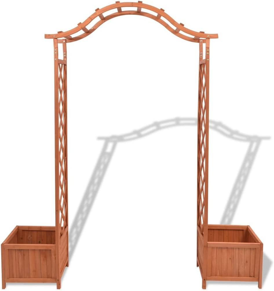 Qiilu Garden Rose Arbor Arch,Outdoor Solid Wood Pergola Trellis with Dual Planters for Climbing Plants Wedding Bridal Party Decoration Backyard Patio,70.9