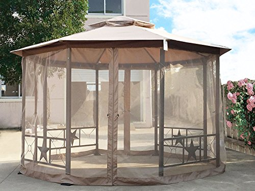 Cloud Mountain Outdoor Gazebo 12x12 Ft Patio Gazebo with Mosquito Netting Polyester Fabric Double Roof Vented Garden Gazebo Octagonal Canopy Tent for Backyard, Event, Party, BBQ(Sand) - Octagonal Garden Gazebo
