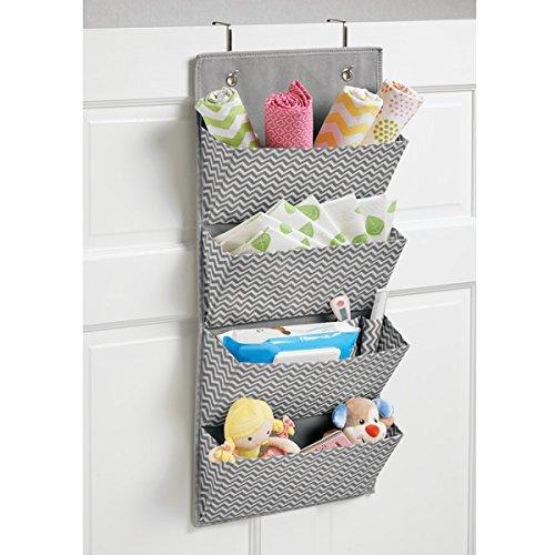 amazoncom mdesign chevron wall mountover door fabric closet storage organizer for toys babykids clothing 4 pockets graycream home u0026 kitchen