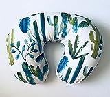 Nursing Pillow Cover - Blue Watercolor Cactus