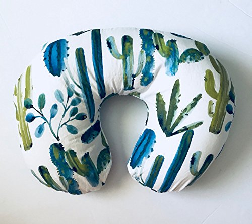 Nursing Pillow Cover - Blue Watercolor Cactus by Lullabies and Lollipops