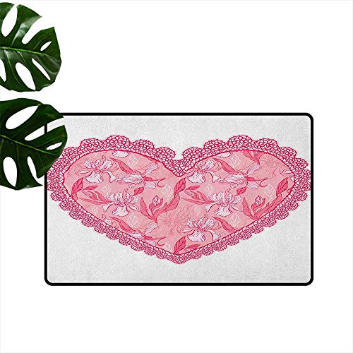 RenteriaDecor Love,Printed Carpet Lace Heart with Floral Pattern Wedding Valentine Blossoms Leaves Classic Retro 20