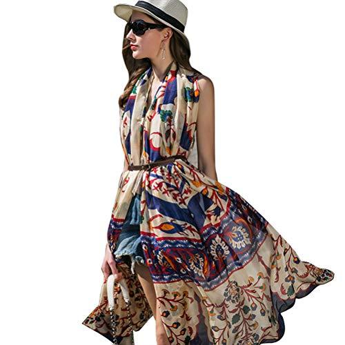 DANA XU 100% Pure Silk Large Size Women Soft Pashmina Shawls and Wraps (Colorful) ()