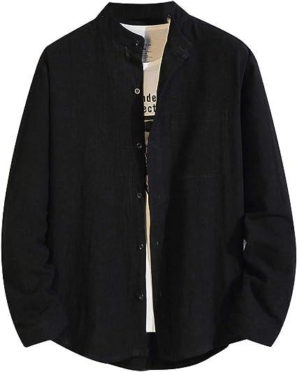 ZODOF camisa hombre camisas sport Nuevo Casual Comodo Moda Color Sólido Suelto Bolsillo Solapa Manga larga Camisa Tops Blusa Moda para hombre camisa lino hombre(XL,Negro): Amazon.es: Instrumentos musicales