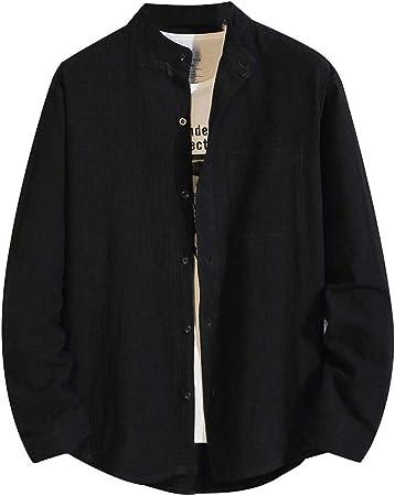 ZODOF camisa hombre camisas sport Nuevo Casual Comodo Moda Color Sólido Suelto Bolsillo Solapa Manga larga Camisa Tops Blusa Moda para hombre camisa lino hombre(XXXL,Negro): Amazon.es: Instrumentos musicales