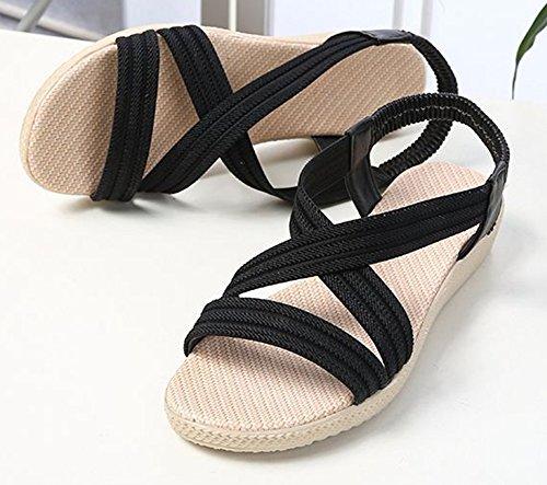 Noir Aisun Fille Femme Sandales Chaussures Cross pour Simple Voyage Plates gzpfxg