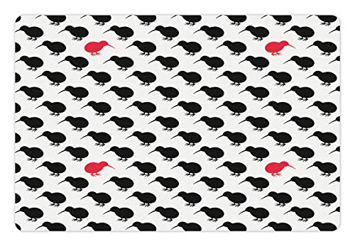 (Lunarable Kiwi Pet Mat for Food and Water, Minimal Repetitive Pattern of Silhouette Birds Contemporary Art, Rectangle Non-Slip Rubber Mat for Dogs and Cats, Charcoal Grey Dark Coral White)