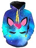 KIDVOVOU Unicorn Hoodie for Kids Unisex 3D Digital Print Pullover Sweatshirt