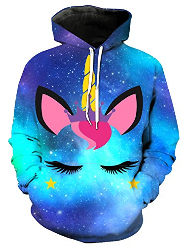 KIDVOVOU Unicorn Hoodie for Kids Unisex 3D Digital Print Pullover Sweatshirt by KIDVOVOU