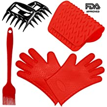 Thiroom Silicone BBQ /Cooking Gloves ,Meat Claws ,Trivet Mats, and Basting Brush for Cooking, Grilling, Baking, Barbecue Heat Resistant to 425 ¡ãF (Red) ¡­