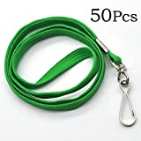 "Bulk Lanyard 32"" Flat Lanyards with Swivel Hook Attachment Lanyards with Clip (Green)"