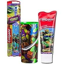 Nickelodeon Teenage Mutant Ninja Turtles Kids Turbo Powered Spin Toothbrush & Teenage Mutant Ninja Turtles Mild Bubble Fruit Toothpaste, 4.6 oz Plus Bonus TMNT 22oz Moth Wash Rinse Cup!