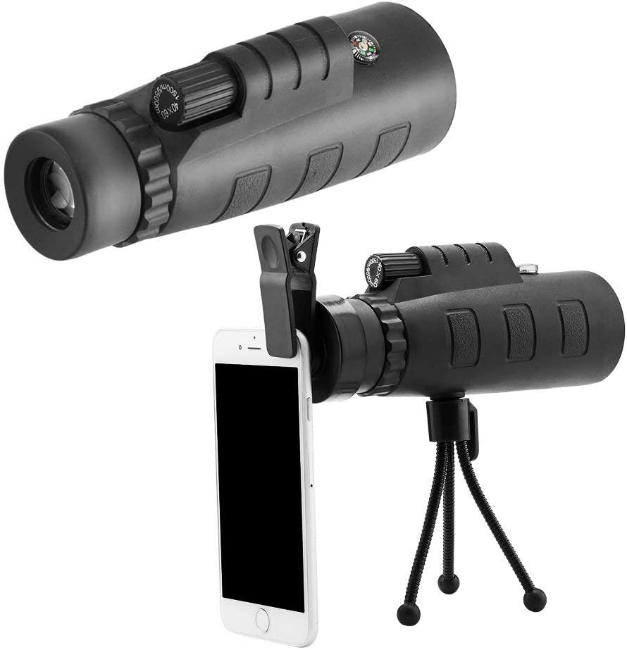 Moblios Camera Lens Monocular Telescope Mobile Lens 40x60 hd Telescope with Mini Tripod and Mobile Camera Clip for All Android, iOS Devices