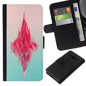 KingStore / Leather Etui en cuir / Samsung Galaxy Core Prime / Iceberg Rosa Océano Neon Art Deep Blue