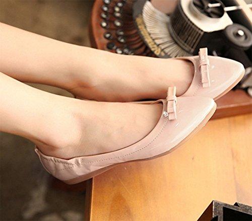 Chfso Womens Sweet Bow Knoop Flats Puntschoen Boot Pumps Schoenen Abrikoos
