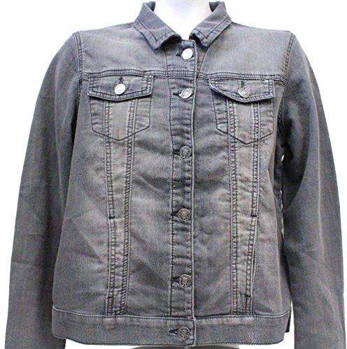 Buffalo David Bitton Women's Knit Stretch Denim Jean Jacket (Grey, (Knit Shirt Jacket)