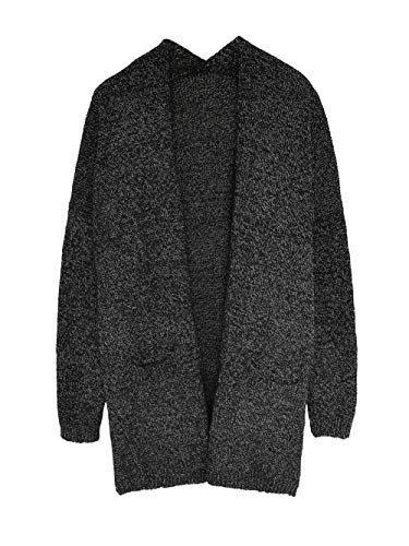 Amiliashp Women's Open Front Loose Causal Cable Knit Long Cardigan Sweater Oversized Outwear Jacket Coat with Pockets (Medium, Black)